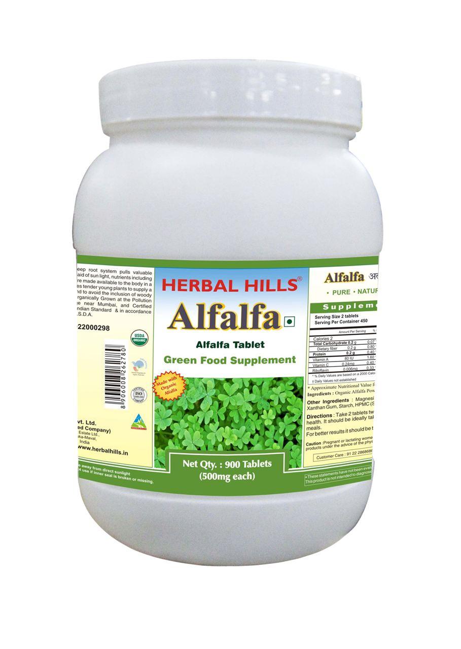 Alfalfa Powder 900 Tablets Organic Powder For Blood