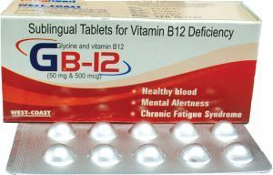 Picture of GB-12 Sublingual Vitamin B12 Deficiency 100 Tablets