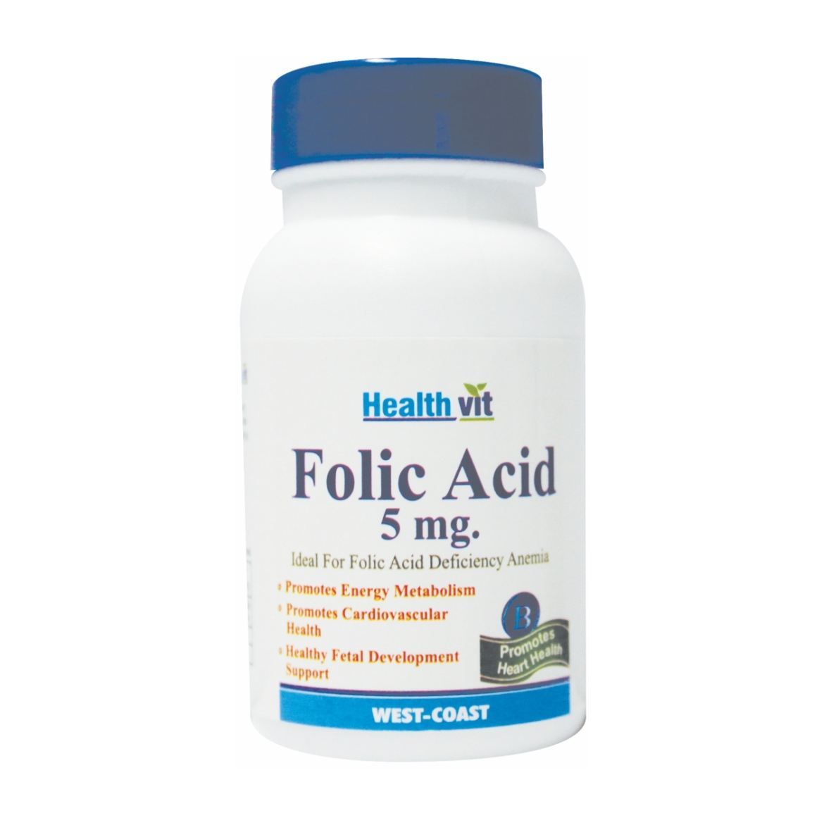 Picture of HealthVit Folic Acid 5mg 60 Tablets (Pack Of 2) for Cardiac Care  ADVERTISEMENT