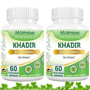 Picture of Morpheme Khadir (Acacia Catechu) for Skin Allergies - 500mg Extract - 60 Veg Capsules - 2 Bottles