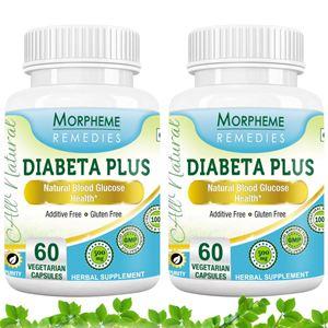 Picture of Morpheme Diabeta Plus Natural Blood Glucose Health - 500mg Extract - 60 Veg Capsules - 2 Bottles