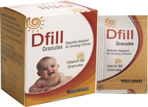 Picture of Dfill Vitamin D3 Granules for Growing Kids Cholecalciferol 60000IU 20 Sachets - Pack of 2