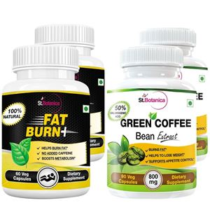 Picture of StBotanica Fat Burn+ + Green Coffee Bean Extract (2+2 Bottles)