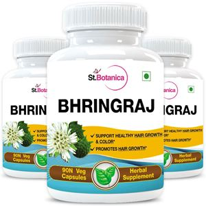 Picture of StBotanica Bhringraja (Eclipta Alba) 500mg Extract - 90 Veg Caps - 3 Bottles