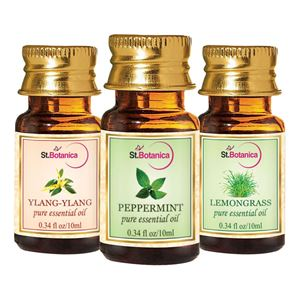Picture of StBotanica Lemongrass + Peppermint + Ylang-Ylang Pure Essential Oil (10ml Each)