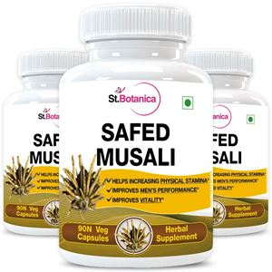 Picture of StBotanica Safed Musli Capsules 500mg Extract - 90 Veg Capsules - 3 Bottles