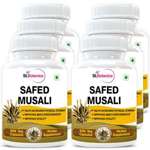 Picture of StBotanica Safed Musli Capsules 500mg Extract - 90 Veg Capsules - 6 Bottles