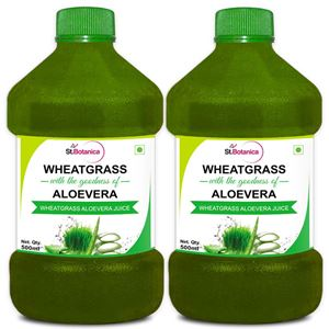 Picture of StBotanica Wheatgrass With Aloevera - 500ml - 100% Natural - 2 Bottles