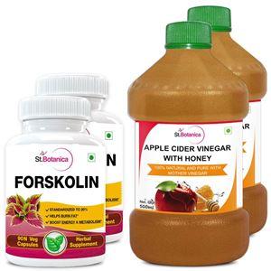 Picture of StBotanica Forskolin 500mg Extract + Apple Cider Vinegar With Honey (2+2 Bottles)