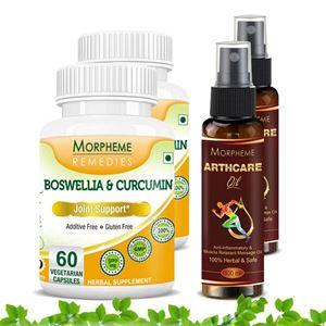 Picture of Morpheme Arthcare Oil Spray (100 ml) + Boswellia Curcumin Plus (4 Bottles)