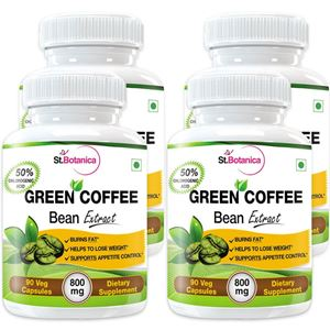 Picture of StBotanica Green Coffee Bean Extract For Weight Loss - 60% HCA 800mg - 90 Veg Caps - Buy 2 Get 2 Free