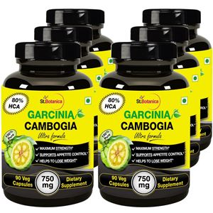 Picture of StBotanica Garcinia Cambogia Ultra Formula -  80% HCA 750mg Extract - 90 Veg Caps - Buy 3 Get 3 Free + Extra 35% Off