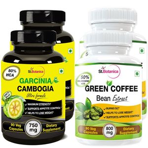 Picture of StBotanica Garcinia Cambogia Ultra 80% HCA 750mg + Green Coffee Bean Extract For Weight Loss (2+2 Bottles)