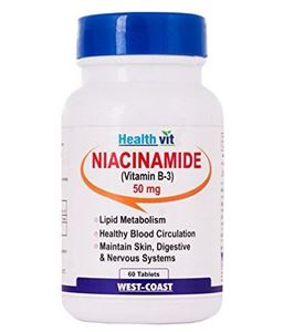 Picture of Healthvit Niacinamide (Vitamin B3) 50 Mg 60 Tablets