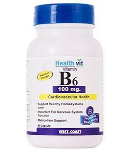 Picture of Healthvit Vitamin B6 100 Mg 60 Capsules
