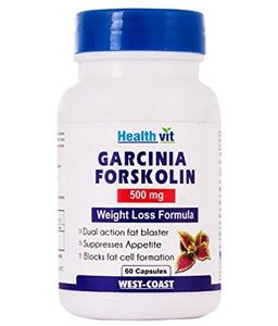 Picture of Healthvit Garcinia Forskolin 500mg Extract 60 Capsules