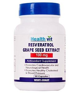 Picture of Healthvit Resveratrol 100mg with Grape Seed Extract 60 Capsules