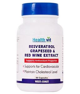 Picture of Healthvit Resveratol Grapeseed & Red Wine Extract 60 Capsules