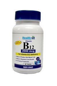 Picture of Healthvit Vitamin B12  Methylcobalmin 2000mcg 60 Tablets