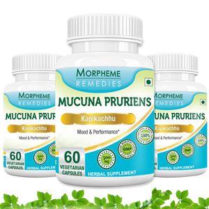 Picture of Morpheme Mucuna Pruriens (Kapikachhu) - 500mg Extract - 60 Veg Caps - 3 Bottles