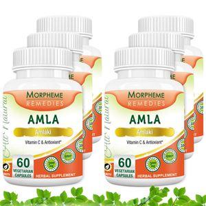 Picture of Morpheme Amla Caps Vitamin C & AntiOxidant 500mg Extract 60 Veg Caps - 6 Bottles