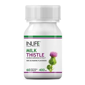 Picture of INLIFE Milk Thistle (80% Silymarin) 400mg (60 Vegetarian Capsules) Liver Cleanse Detox Support Supplement