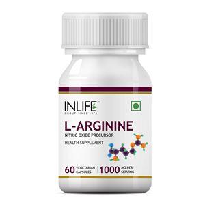 Picture of INLIFE L-Arginine 1000mg (60 Vegetarian Capsules) Serving, Nitric Oxide Precursor