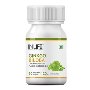 Picture of INLIFE Gingko Biloba Extract 120mg (60 Vegetarian Capsules) for Healthy Brain Function