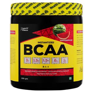 Picture of Healthvit Fitness BCAA 6000, 200g Powder (Watermelon) Pre/Post Workout Supplement