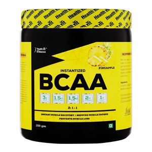 Picture of Healthvit Fitness BCAA 6000, 200g Powder (Pineapple) Pre/Post Workout Supplement