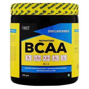 Picture of Healthvit Fitness BCAA 6000, 200g Powder (Unflavoured) Pre/Post Workout Supplement